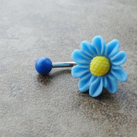 Light Blue Chrysanthemum Flower Belly Button by CuteBellyRings