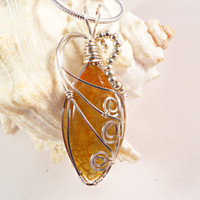 Wire Wrapped Jewelry, Pendant Necklace, Yellow Dragon Vein Agate, Handmade