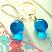 Blue Drop Earrings, Ocean Blue Glass Teardrop Beads, Gold Dangle Earrings, Modern, Elegant, Fashionable, Pretty Earrings Under 15