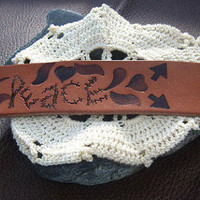 Hippie Leather Cuff Peace Bracelet Direct Checkout CLEARANCE