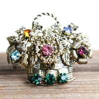 Vintage Flower Basket Rhinestone Brooch - Gold Tone Colorful Stone Costume Jewelry Pin / Floral Bouquet