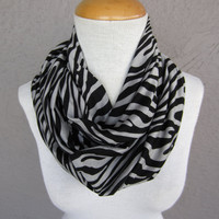 Zebra Infinity Scarf - Animal Print Scarf - Black and Grey Circle Scarf