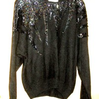 1970s Sequinned Lambswool Sweater Horizontal weave  Dolman sleeves  De Rotchild sz M up to  40 42 bust  ENSEMBLE  Top Hat Earrings