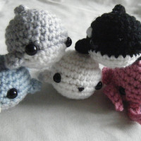 Sea Animals Tiny Amigurumi - 5 Piece Bundle Pack - Narwhal, Shark, Seal, Whale, and Octopus - Customizable, Made to Order, OOAK