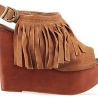 Jeffrey Campbell Snick Fringe in Tan Suede at Solestruck.com