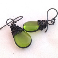 Olive Oil earrings blackened silver by ChickpeaDesignStudio