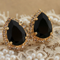 Black and gold Crystal big teardrop stud earring - 14k plated gold post earrings real Swarovski rhinestones .