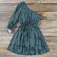 Backlit Chiffon Dress in Emerald, Sweet Women's Bohemian Clothing