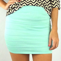 Banded Bodycon Mini Skirt - Mint | .H.C.B.