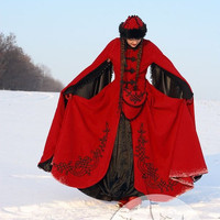 "Medieval Fantasy Wool Winter Coat ""Queen Of Shamakhan"""