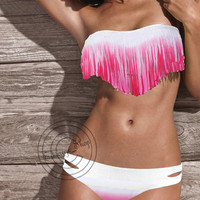 Sexy Tassel Bikini Swimwear Strapless padded swimsuit Top bottom set S-M-L HOT