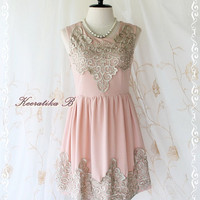 Lady Princess - Sweet Baby Pink Dress With Silver Gold Pattern Embroidered Prom Party Cocktail Wedding Bridesmaid Dress XS-M