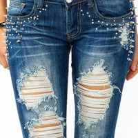 spiked-destroyed-skinny-jeans DARKBLUE - GoJane.com
