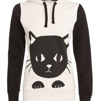 New Look Mobile | Stone Peeping Cat Ear Hoodie