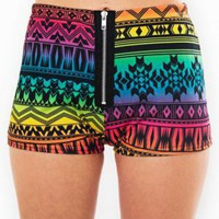Multi Color Bright Neon Aztec Print Shorts with Zipper Front