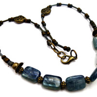 Blue, bronze, silver. Kyanite gemstone, Bronze and brass beads, Seed bead necklace. Blue Kyanite Necklace. Natural, earthy, rustic, Boho.