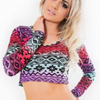 Multi Color Long Sleeve Aztec Print Crop Top