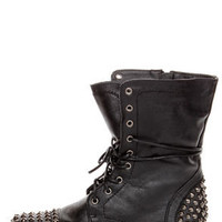 Georgia Black Studded Lace-Up Combat Boots
