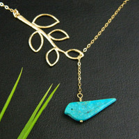 Turquoise Bird Necklace by DanglingJewelry