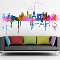 Paris skyline Watercolor, decal for housewares