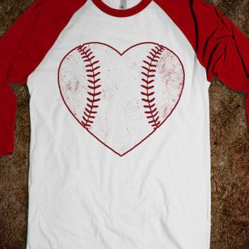 White/Red T-Shirt | Cute Baseball Heart Shirts
