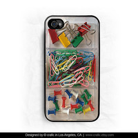 Office Supplies iPhone Hard Case / Fits iPhone 4 4s by CRAFIC