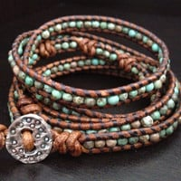 Genuine Turquoise and fine silver beaded Leather by DESIGNbyANCE