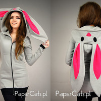 Bunny Rabbit Hoodie ears Kawaii very long cotton by PaperCatsPL