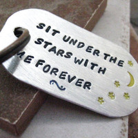 Moon and Stars Key Chain rounded aluminum dog tag by riskybeads