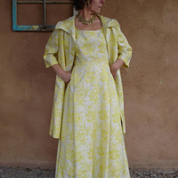 1960s Yellow Metallic Brocade Evening Dress and Matching Opera Coat Size 8