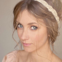 Sunday in Paris - hand bead rhinestone and silk headband