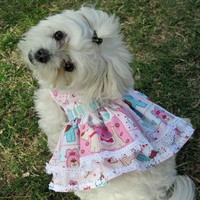 Pink Posh Pooch Dog Dress with White Venise by LittleDogFashion