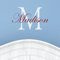 Personalized Name and Initial Monogram Wall Decal Nursery Wall Decor Vinyl Wall Stickers