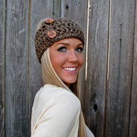 Lamb's Wool Collection - Multi Ways to Wear - Plush Wool Wrap/Neckwarmer In Barley w/Handmade Reclaimed Wood Buttons-Adjustable Unisex