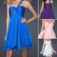 Formal cocktail Bridesmaid women evening party gown prom short chiffon dress