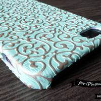 SALE30%OFF: iPhone 5 Case - Embossed Golden Ivy Pattern Teal iPhone Case // Floral Pattern, Teal, Gold, 3D, Flower, Sculpture, Wedding