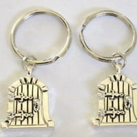Two Silver Castle Door Locket Key Chains for Friends, Family, BFFs