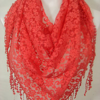 Women Lace Triangle Scarf-Coral