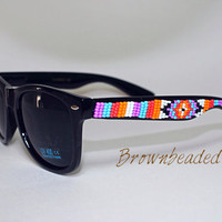 Hand Beaded Sunglasses Native American Tribal Print Design
