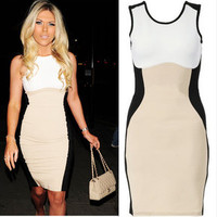 Vixen Boutique  Nude Contrast Bodycon Dress