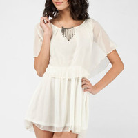 Giselle Chiffon Dress in Ivory :: tobi