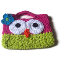 Easter Gift Owl Purse , Child's Purse , Crochet Owl Purse , Play Purse , Pink And Green Owl Tote, Bible Bag