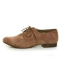 Dollhouse Tuxi Taupe Suede Oxfords - &amp;#36;28.00