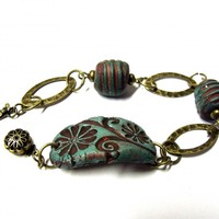 Floral clay bracelet turquoise and burgundy rustic style clay and antique brass beaded bracelet