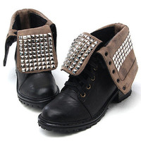 Studs Boots Combats Military Flats Women's Ladies Studded Motorcycle Punk 6~7~8