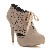 Simples Nude Laser Cut Heel - Shoes - Miss Selfridge