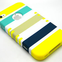 Yellow Soft Skin Case Blue Stripes Hybrid Armor Hard Cover iPhone 4 4S Phone R