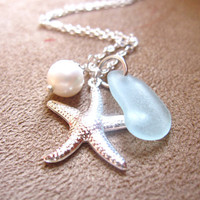 Seafoam Beachglass Starfish Necklace with fresh water pearl -  FREE SHIPPING