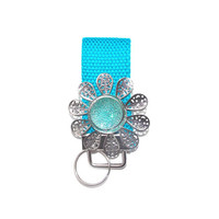 Mini Key Chain, wristlet, Key Fob, Blue webbing with a silver and blue stone