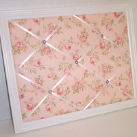 Cottage Chic Roses fabric ~ White Wood Framed Memo Board by ToileChicBoutique